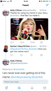 Ms. O'Brien thanking Cambio for using the meme.