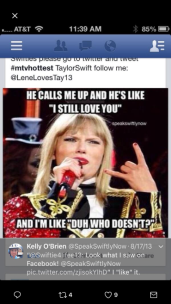 Ms. O'Brien finding the meme on Facebook.